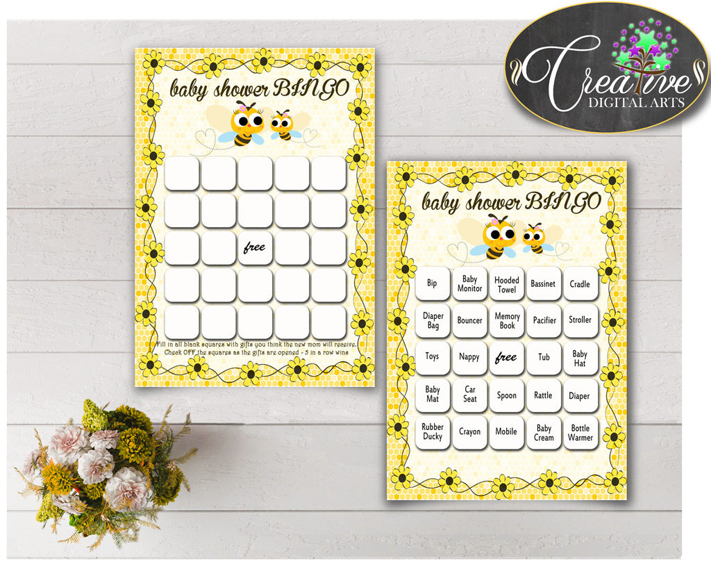 Baby Shower BINGO 60 cards game and empty gift BINGO cards with yellow bee printable, instant download - bee01