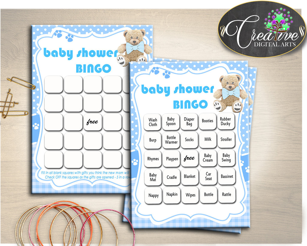 Baby Shower Teddy Bear 60 BINGO cards game and empty gift BINGO blue printable, baby shower boy bingo , pdf, jpg, instant download - tb001