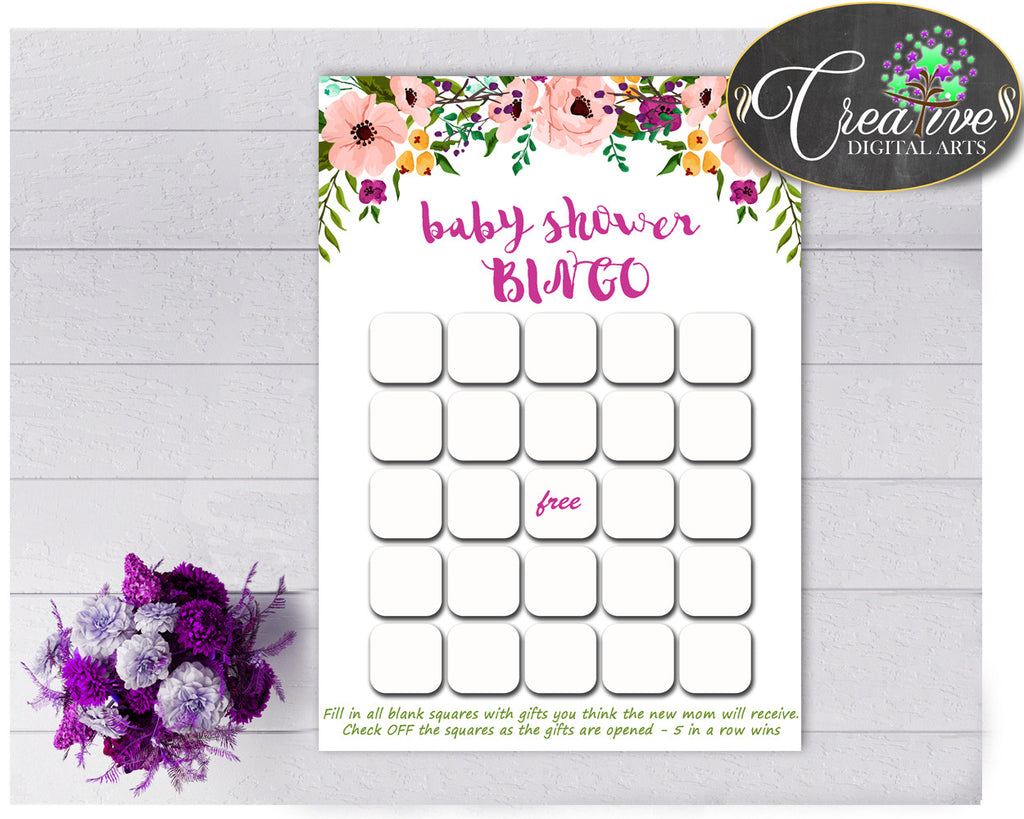 Floral Baby Shower girl printable BINGO GIFT cards game with watercolor flowers pink green purple theme, Jpg Pdf, instant download - flp01