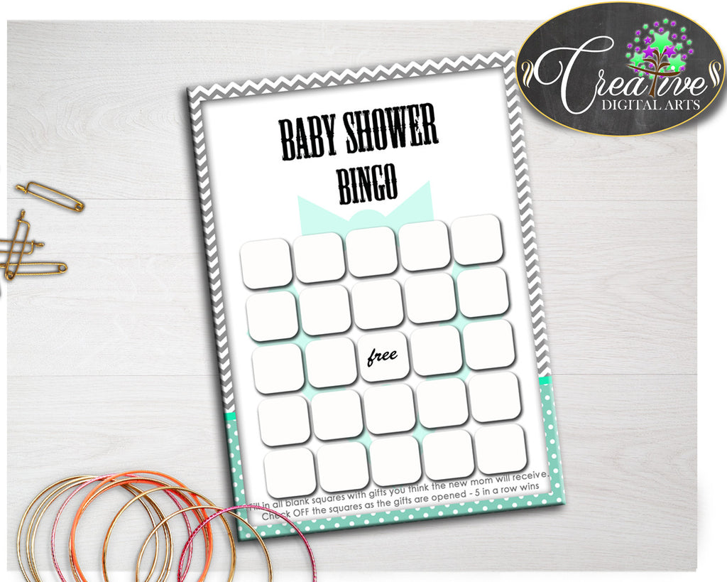 Baby Shower little man suit BINGO GIFT blank game printable mint green and chevron gray, digital files Jpg Pdf, instant download - lm001