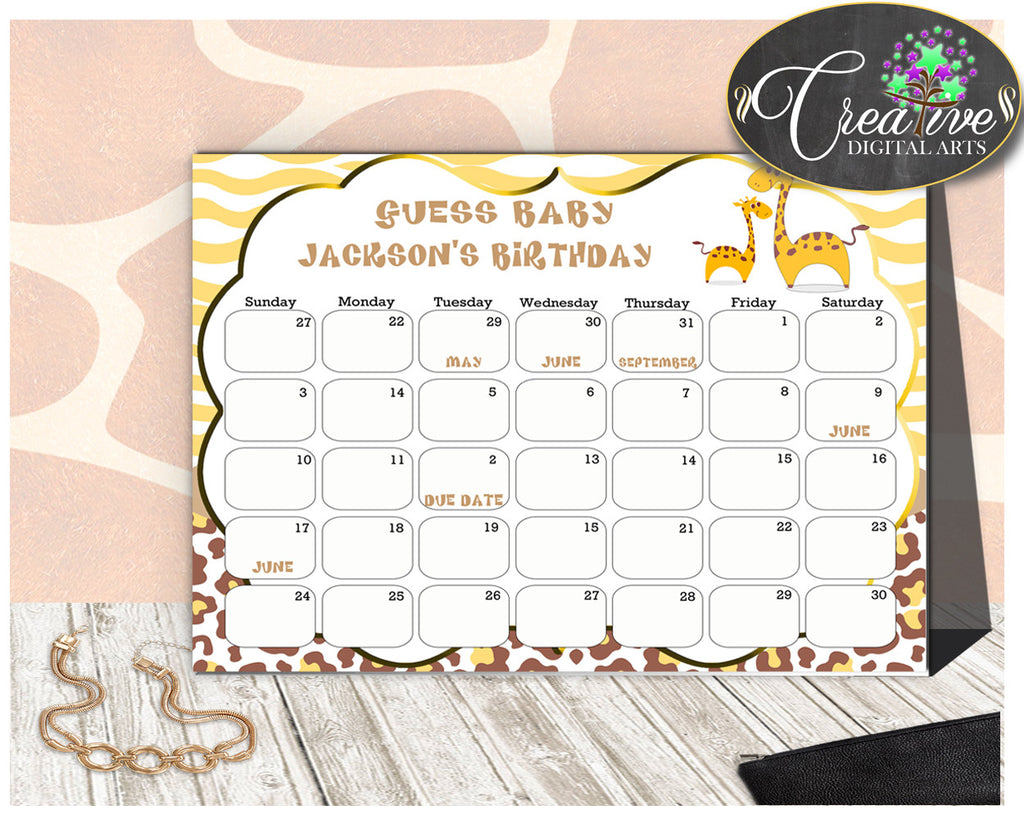 Giraffe Baby Shower GUESS BABY BIRTHDAY editable due date calendar baby shower boy or girl printable brown yellow, instant download - sa001