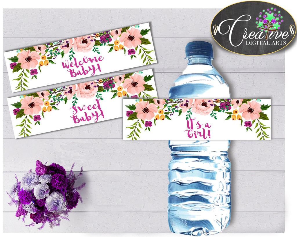 Floral Baby shower girl WATER BOTTLE LABELS printable watercolor flowers pink green theme, digital files Pdf Jpg, instant download - flp01