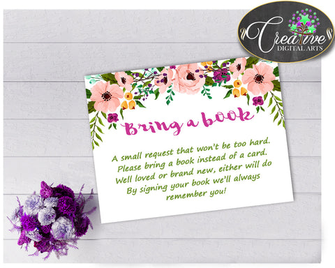 Baby Shower Girl Watercolor Flowers BRING A BOOK insert cards printable for baby shower floral theme, Jpg Pdf, instant download - flp01