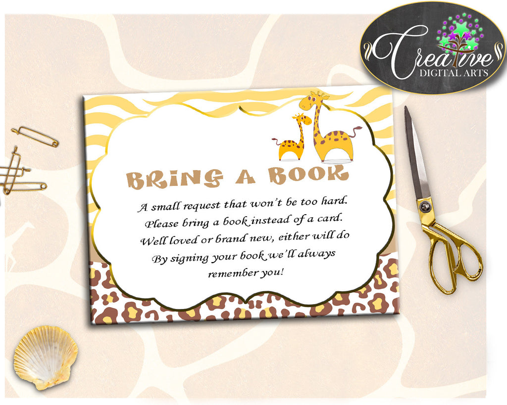 Giraffe Baby Shower Boy or Girl BRING A BOOK insert cards printable yellow and brown theme, digital files, jpg pdf, instant download - sa001
