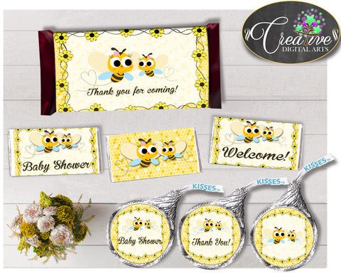 Baby shower CANDY BAR decoration wrappers and labels printable with yellow bee for boys and girls, instant download - bee01