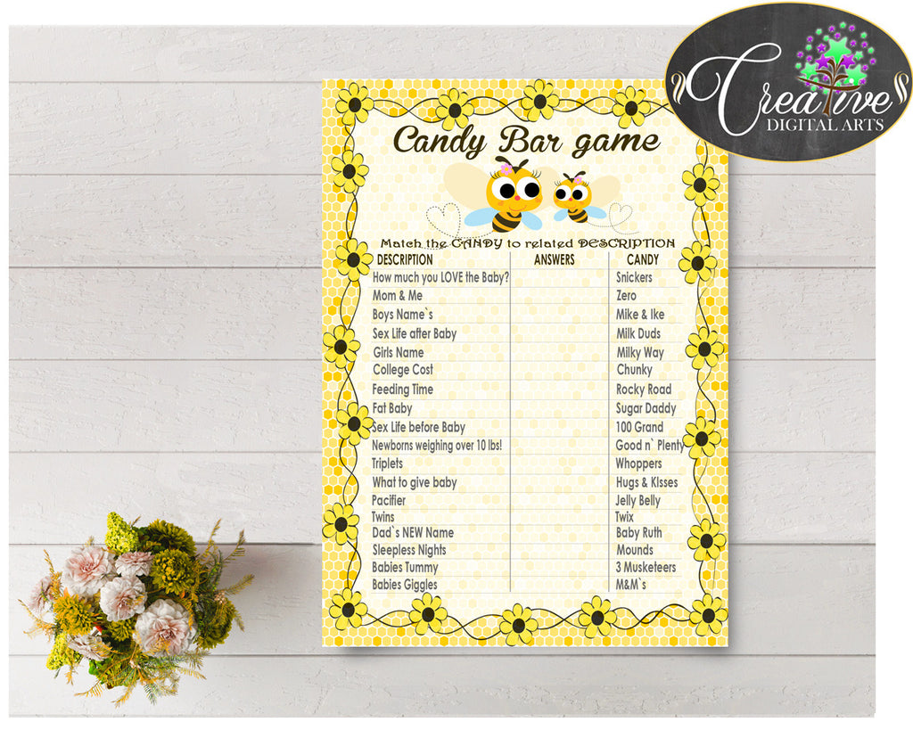 CANDY BAR baby shower game with yellow bee, digital files, instant download - bee01