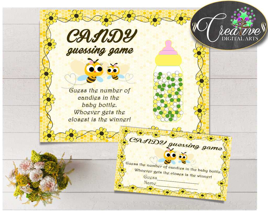CANDY GUESSING GAME sign and tickets for baby shower with yellow bee printable, Jpg, Pdf, instant download - bee01