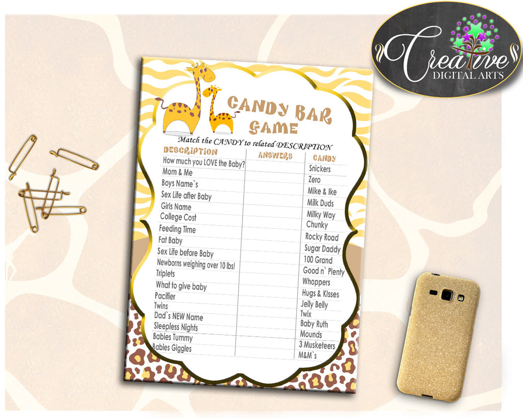 Giraffe Baby Shower CANDY BAR game printable, boy or girl shower game in brown and yellow, digital files, Jpg Pdf, instant download - sa001