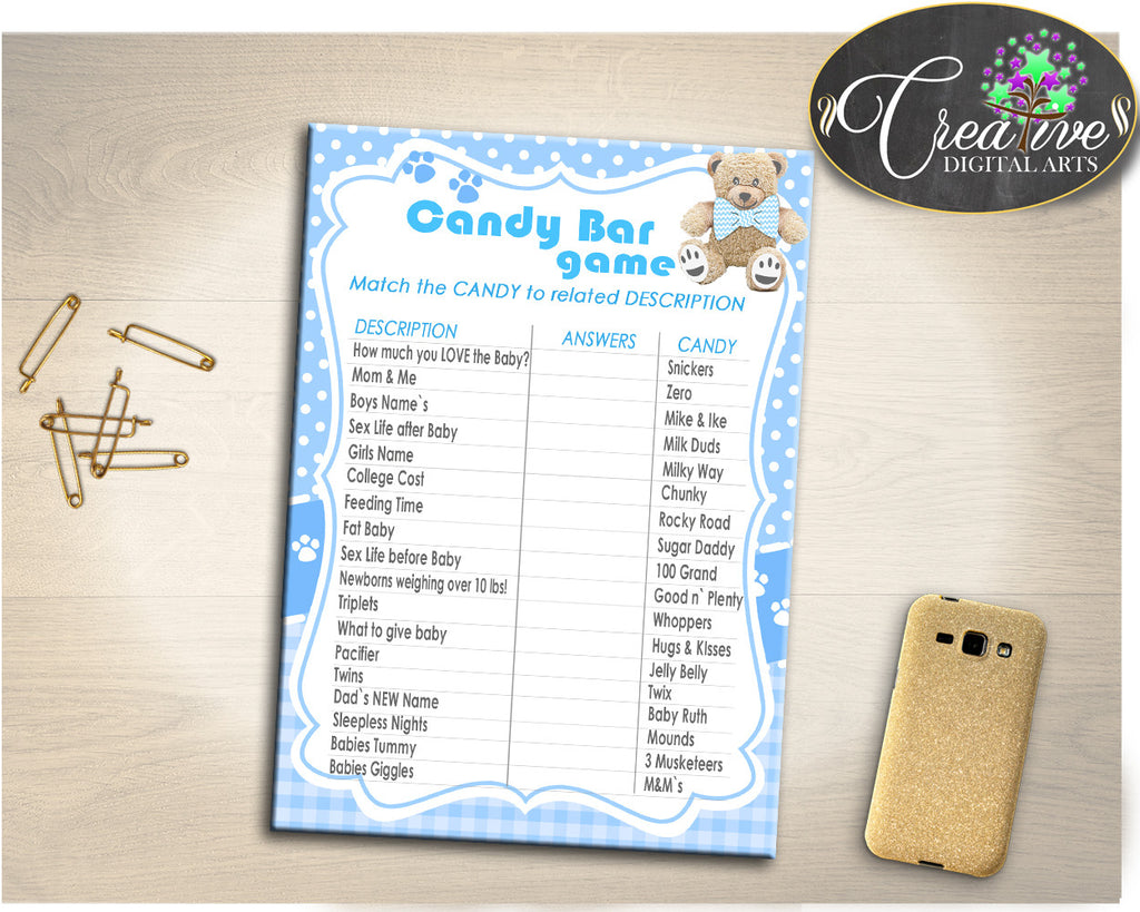 Boy Baby Shower Teddy Bear CANDY BAR game, baby shower printable teddy bear, baby shower boy, digital, Jpg Pdf, instant download - tb001