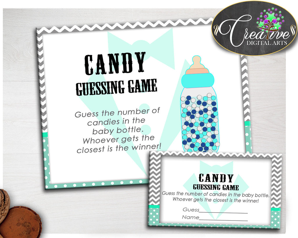 CANDY GUESSING GAME sign and tickets little man gentleman for baby boy shower mint green theme printable, Jpg Pdf, instant download - lm001