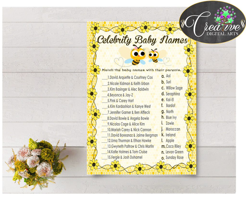 CELEBRITY BABY NAMES baby shower game with yellow bee, instant download - bee01