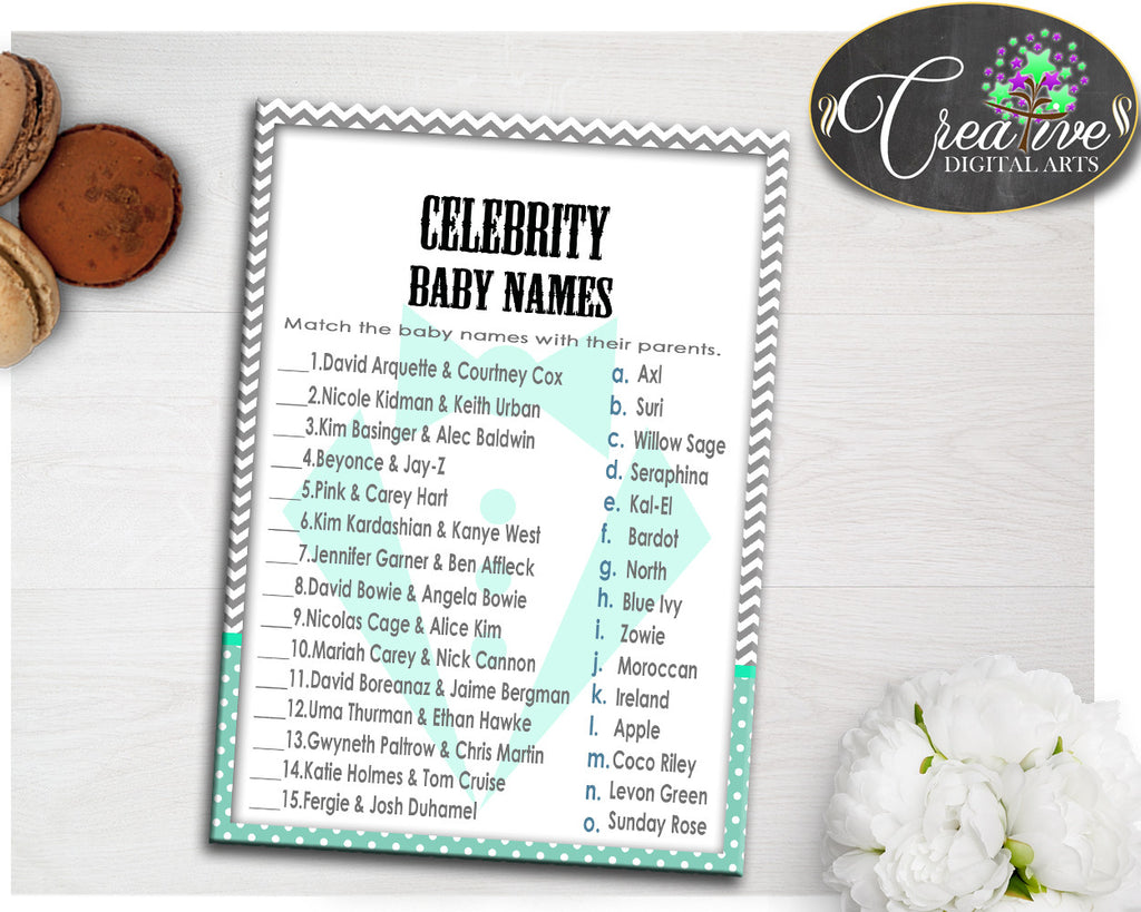 CELEBRITY BABY NAMES baby boy shower little man game gentleman mint green gray color theme, digital files jpg pdf, instant download - lm001
