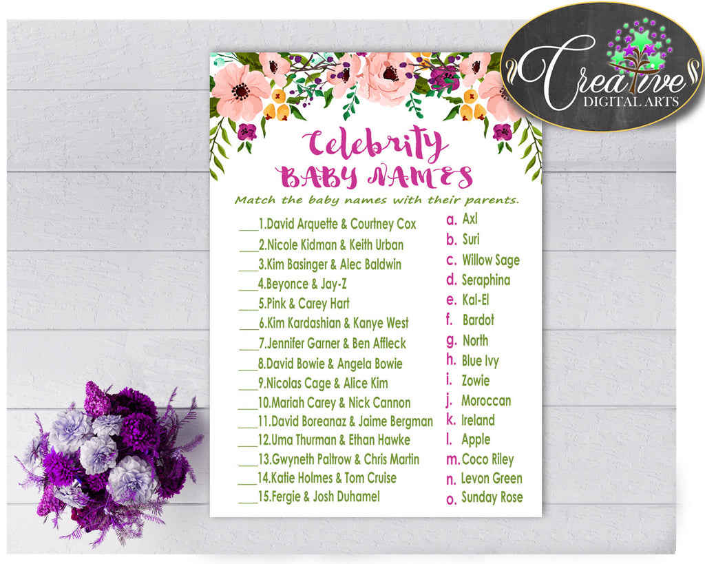 CELEBRITY BABY NAMES baby shower girl watercolor flowers game in floral pink green theme , digital files, Jpg Pdf, instant download - flp01