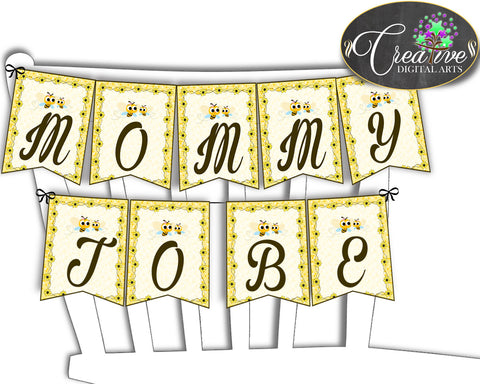 Baby shower CHAIR BANNER decoration printable with yellow bee, digital files, instant download - bee01