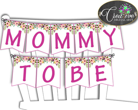 Baby shower girl CHAIR BANNER decoration printable watercolor flowers pink green theme, digital files Jpg Pdf, instant download - flp01