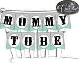 Baby shower little man CHAIR BANNER boy gentleman decoration printable in mint green gray theme, digital files, instant download - lm001