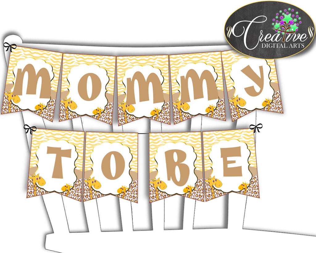 Giraffe Baby shower CHAIR BANNER boy or girl shower printable in brown yellow theme, digital files, Jpg Pdf, instant download - sa001