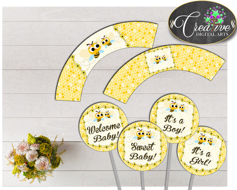Baby shower CUPCAKE TOPPERS and cupcake WRAPPERS printable with yellow bee for boys and girls, instant download - bee01