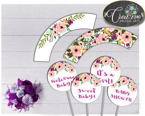 Baby shower girl Floral CUPCAKE TOPPERS and cupcake WRAPPERS printable watercolor flowers pink green purple theme, instant download - flp01