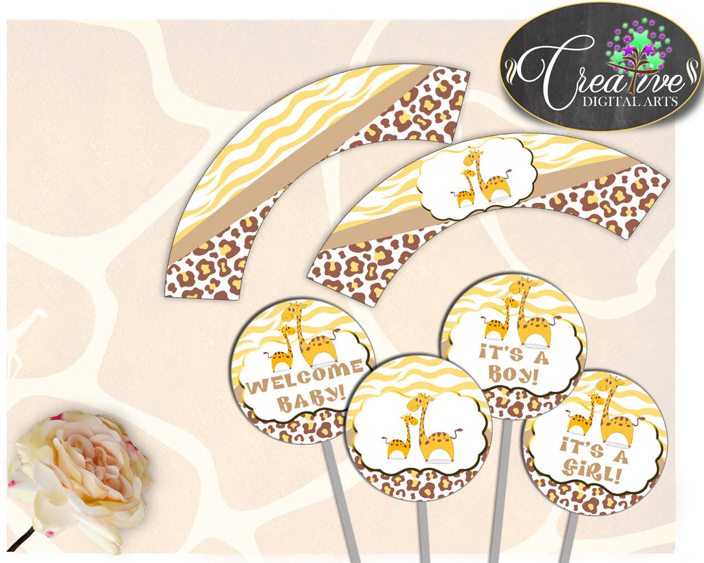 Giraffe Baby Shower Boy or Girl CUPCAKE TOPPERS and cupcake WRAPPERS printable brown yellow theme, digital Jpg Pdf, instant download - sa001