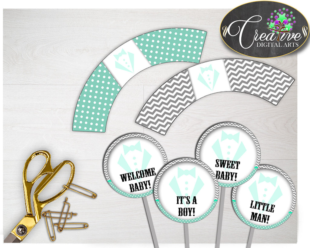 Baby shower boy little man CUPCAKE TOPPERS and cupcake WRAPPERS printable in mint green theme, digital Jpg and Pdf, instant download - lm001