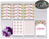 Baby Girl Shower Decoration Flowers package bundle printable with floral pink green purple theme, Jpg Pdf - Instant Download - flp01