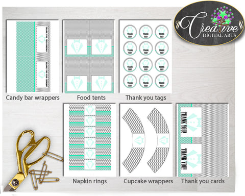 Little Man Baby Shower Boy Decoration package bundle printable mint green and gray chevron, digital files Jpg Pdf - Instant Download - lm001