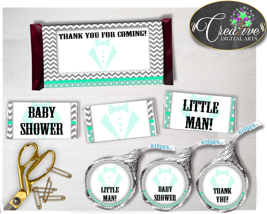 Baby shower Little Man Gentleman CANDY BAR wrappers and labels printable in mint green gray color, digital files, instant download - lm001