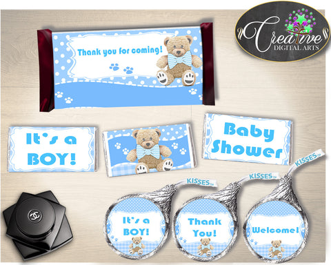 Baby shower decorations HERSHEY wrappers and labels printable with teddy bear blue boy shower theme, digital files, instant download - tb001