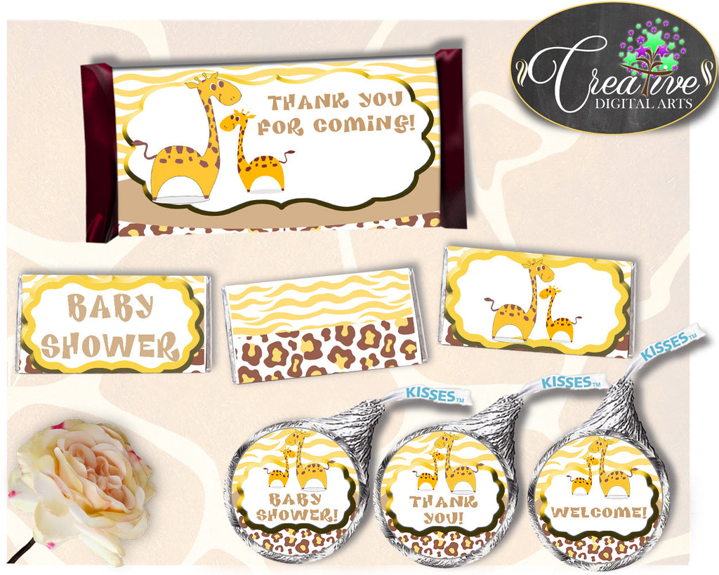 Giraffe Baby shower boy or girl HERSHEY wrappers and labels printable brown yellow theme, digital files, Jpg Pdf, instant download - sa001