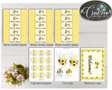 Yellow Baby Shower Decoration package bundle printable with yellow honey bees for boys or girls, Jpg Pdf - Instant Download - bee01