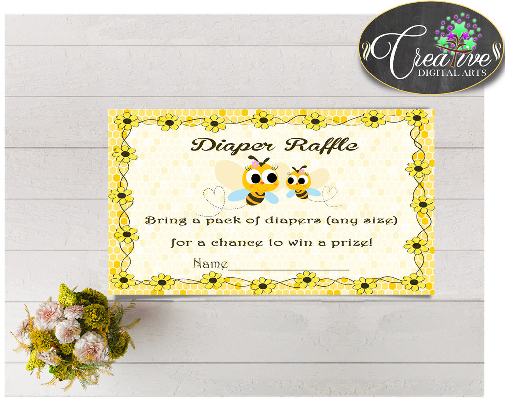 Baby shower DIAPER RAFFLE insert card printable for baby shower with yellow bees, Jpg Pdf, instant download - bee01