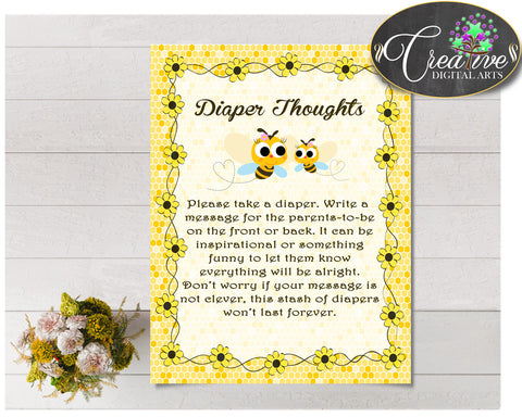 Baby shower DIAPER THOUGHTS game with honey yellow bee printable, digital file jpg pdf, instant download - bee01
