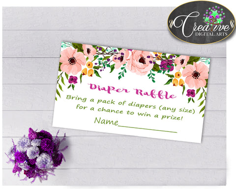 Baby shower Girl Flowers DIAPER RAFFLE insert card printable with floral pink green purple theme, Jpg Pdf, digital instant download - flp01