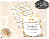 Giraffe Baby Shower DIAPER RAFFLE insert ticket printable, boy or girl baby shower, Digital File Jpg Pdf, instant download - sa001