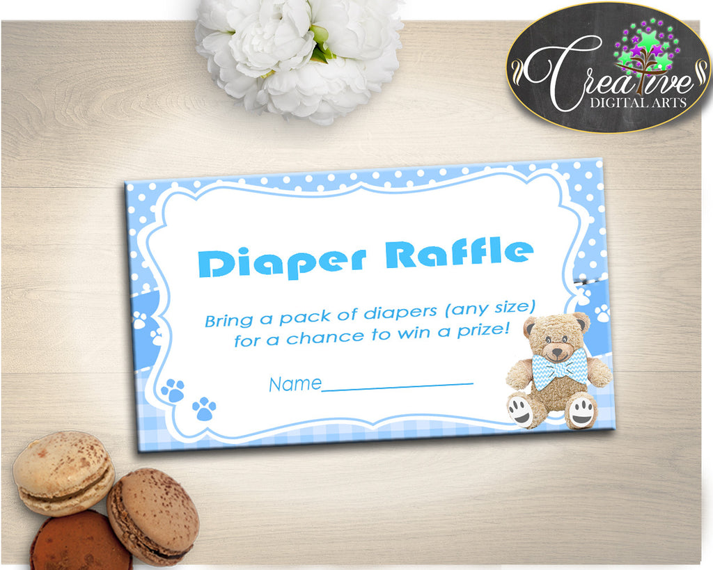 Teddy Bear DIAPER RAFFLE inserts ticket printable, baby shower diaper raffle, boy baby shower, Digital, Jpg Pdf, instant download - tb001
