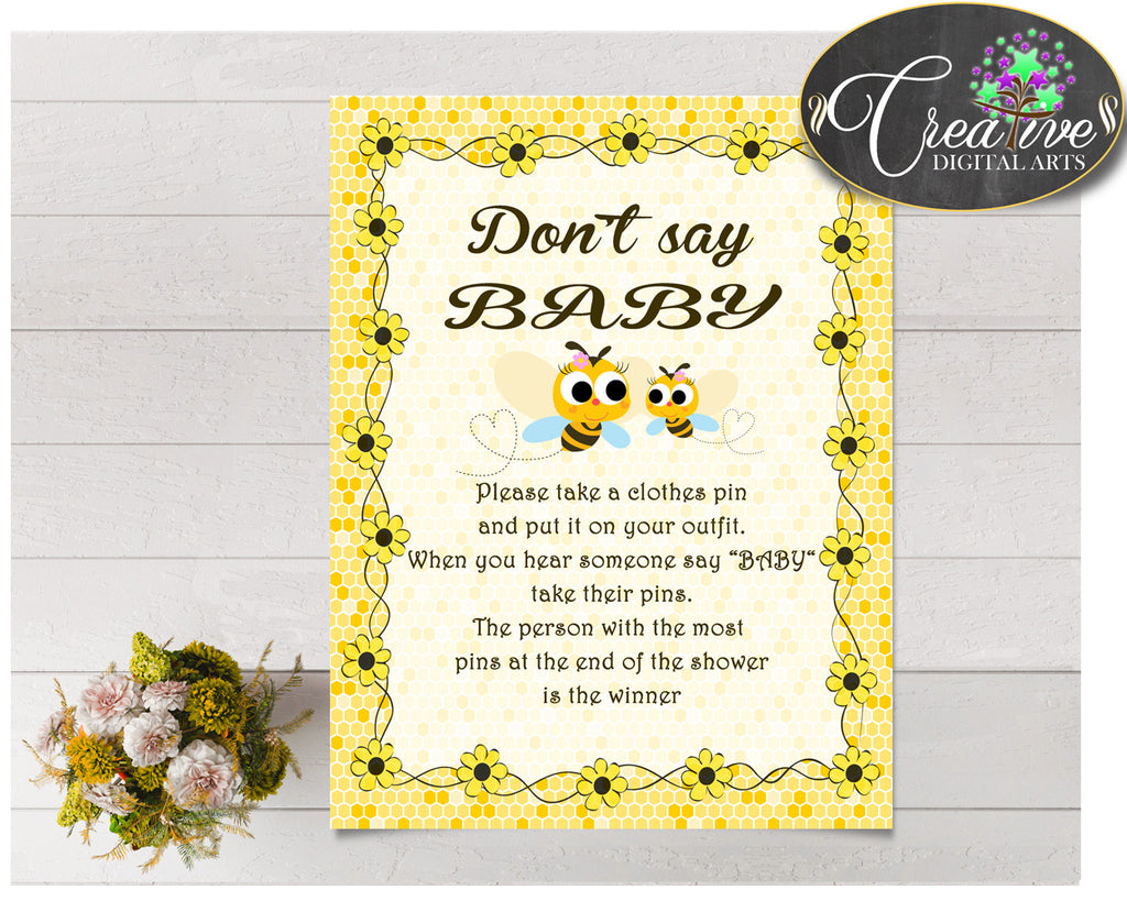 DON'T SAY BABY game for baby shower with yellow bees, instant download - bee01