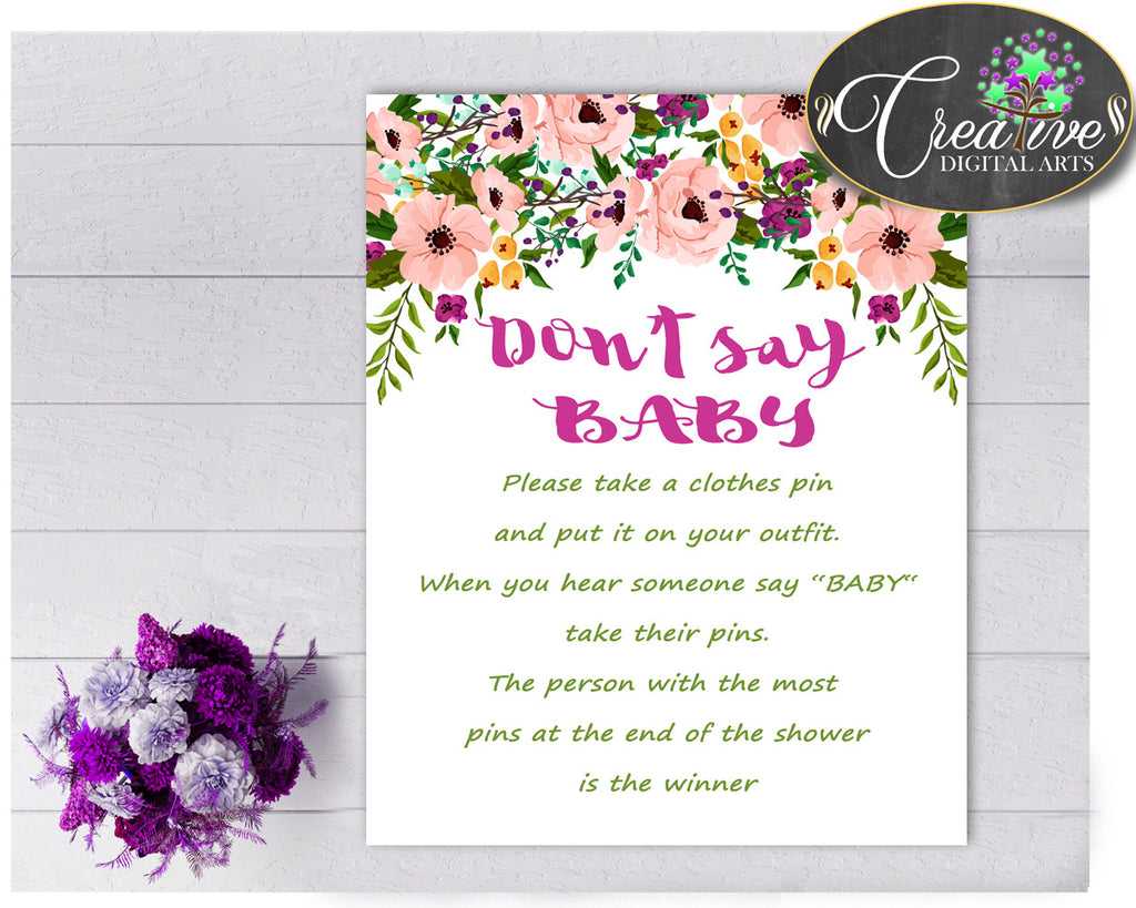 DON'T SAY BABY floral game baby girl shower watercolor flowers pink green theme printable, digital files, Jpg Pdf, instant download - flp01