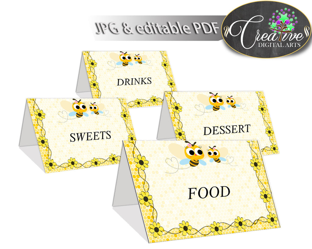 Baby shower Place CARDS or FOOD TENTS editable printable with yellow bee for boys and girls, instant download - bee01