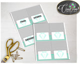 Baby Shower Little Man Place CARDS or FOOD TENTS editable printable gentleman mint green gray theme, digital files, instant download - lm001