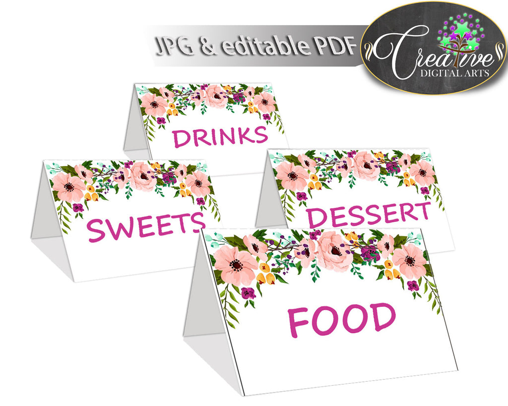 Baby Shower Party Place CARDS or FOOD TENTS editable printable with flowers pink theme baby girl, digital files, instant download - flp01