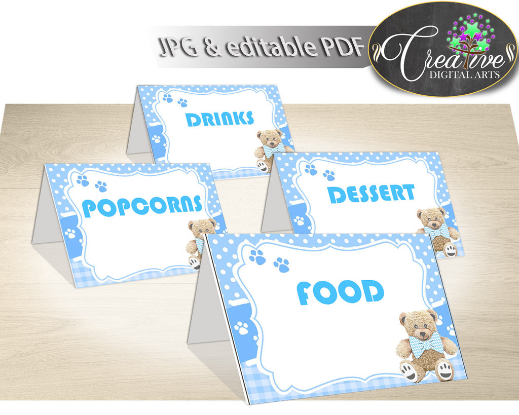 Baby shower Place CARDS or FOOD TENTS editable printable, teddy bear baby shower, boy baby shower, digital pdf, instant download - tb001