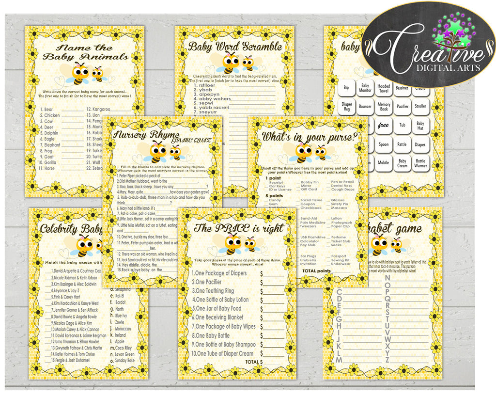Yellow Baby Shower games package bundle printable with honey bee yellow for boys or girls, 8 games pack - Instant Download - bee01