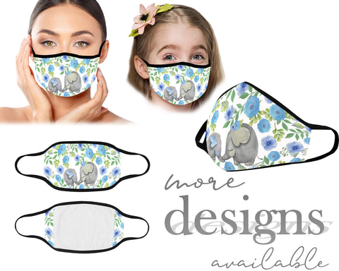 Mouth Mask, Protective Face Mask, Reusable Mask, Washable Mask, Dust Mask, Mask With Filter Pocket, Kids Mask, Adult Mask, Children Mask, Elephant Bee Butterfly Flowers