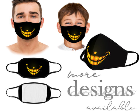 Cute Scary Mouth Mask, Face Cover With Filter Pocket, Kids and Adult Face Mask With Elastic Straps, Washable and Reusable Protective Mask Essential Worker, Unisex