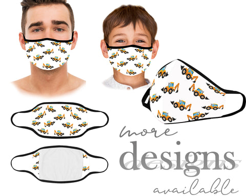 Unisex Kids and Adult Face Mask, Airplane Cars Dredge Protective Mask, Washable and Reusable Mouth Mask, Anti Dust With Filter Pocket
