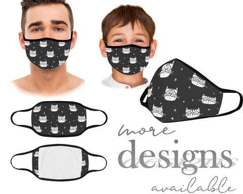 Cute Mouth Mask, Reusable and Washable Mask, Cats Pinguins Panda Face Mask, Dust Mask, With Filter Pocket, Kids Mask, Adult Mask, Children Mask, Protective Face Mask