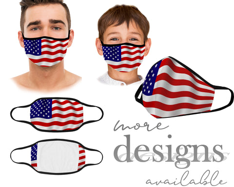 USA Face Mask, Reusable and Washable Face Mask, Dust Mask, American Flag Mask, 4th of July mask, Kids and Adult Face Mask With Filter Pocket, Protective Mouth Mask