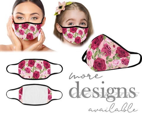 Flowers Face Mask, Unisex Kids and Adult Protective Mask, Washable and Reusable Mouth Mask, Anti Dust With Filter Pocket, Customized Mask