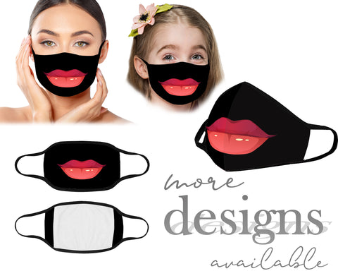 Lips Mouth Mask, Face Mask, Reusable Washable Mask, Protective Dust Mask, Kids Mask, Women Mask, Children Mask With Filter Pocket, Hilarious